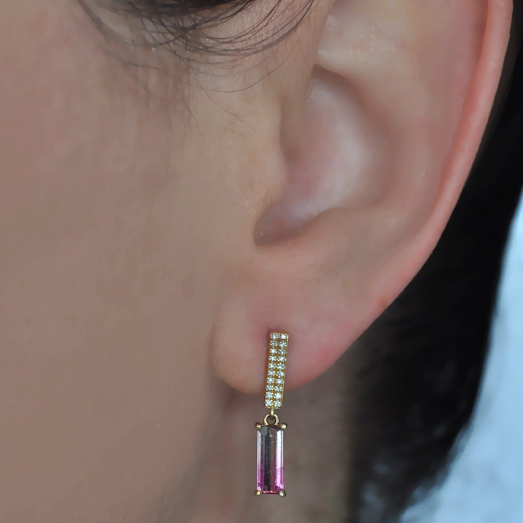Diamond & Bicolor Pink Tourmaline Drop Earrings