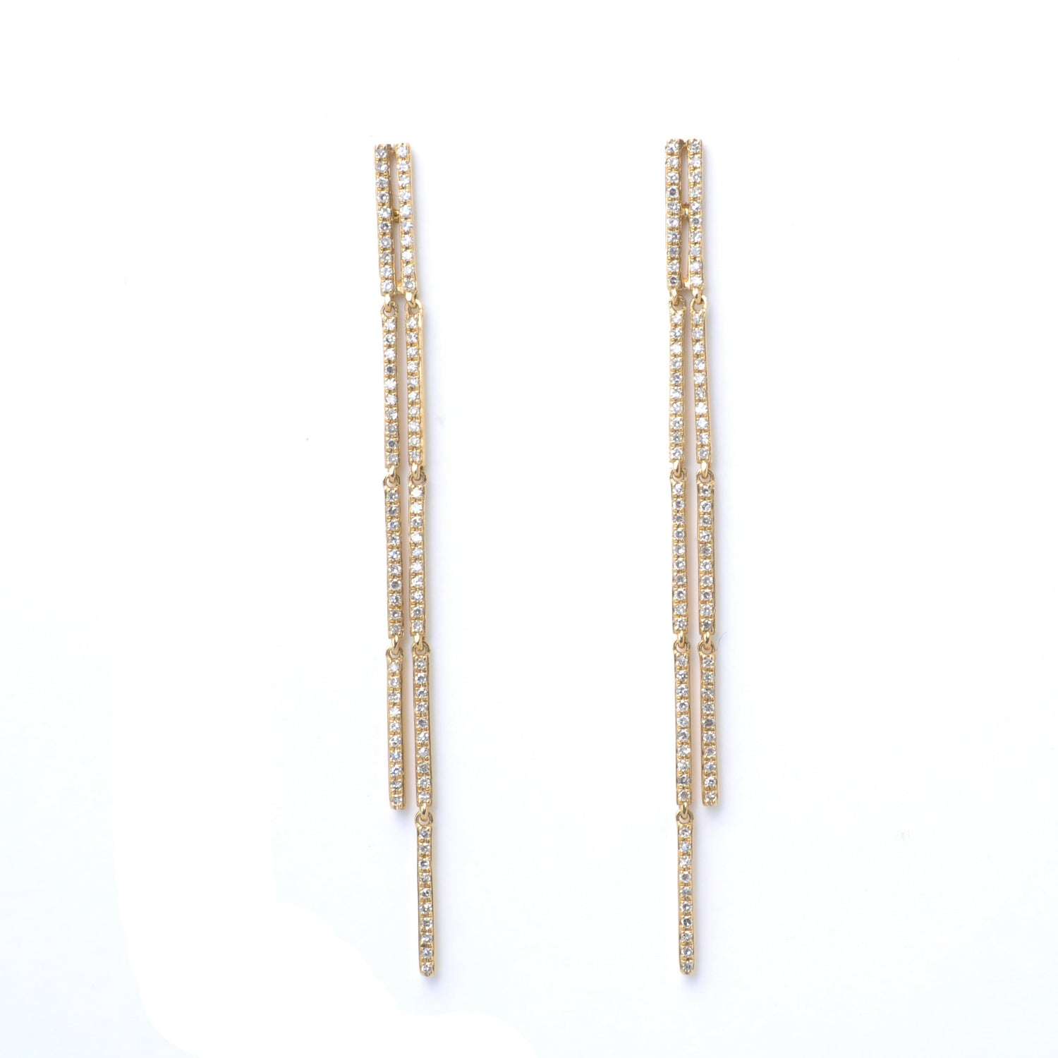 Double Bar Long Drop Pave Diamond Earrings