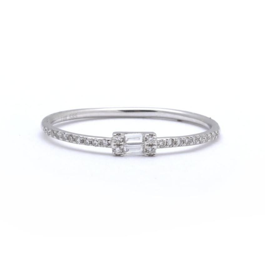 Double Baguette Micro Pave Diamond Half Eternity Ring