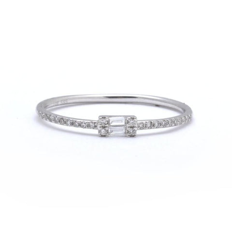 Double Half Circle Pave Diamond Ring