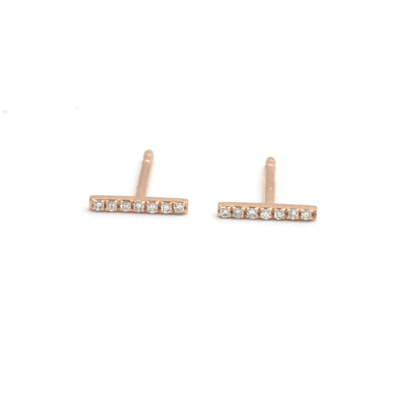 Diamond Pave Bar Stud Rose Gold Earrings