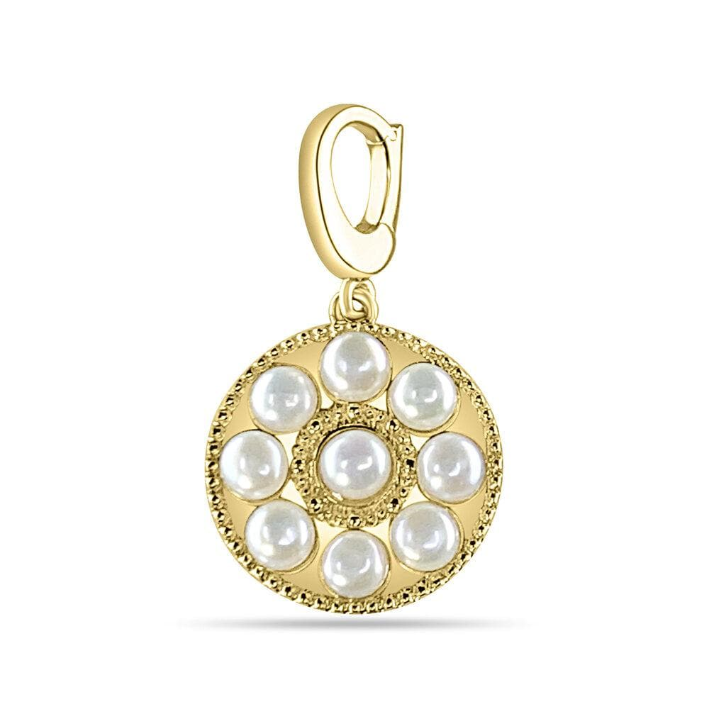 Gold Circle Pearl Medallion