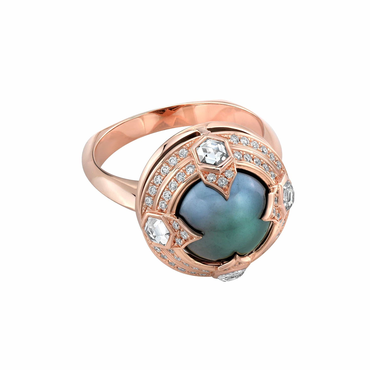 Tahitian Pearl Diamond Hexagon Rose Gold Ring