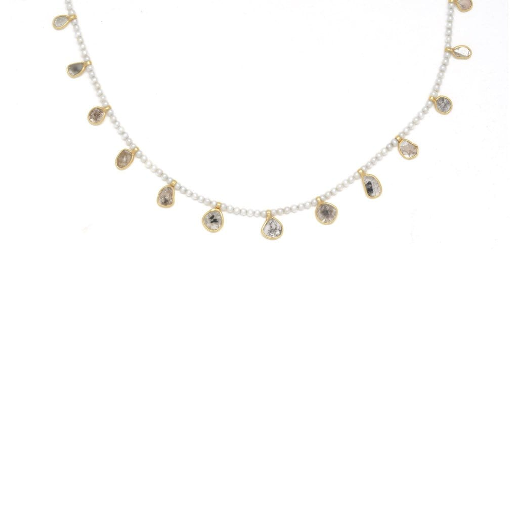Pearl Diamond Slice Shaker Necklace