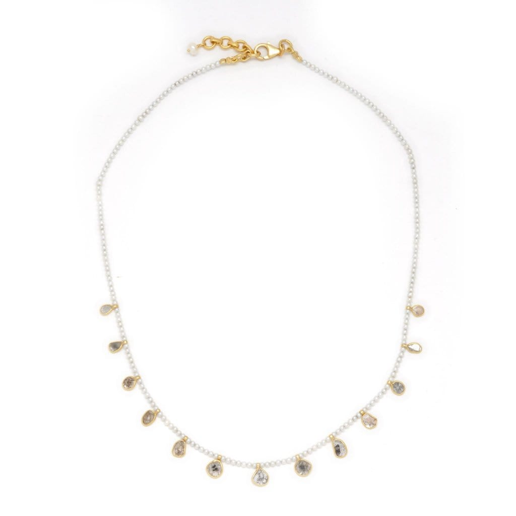 Pearl Diamond Slice Shaker Necklace - Curated Los Angeles