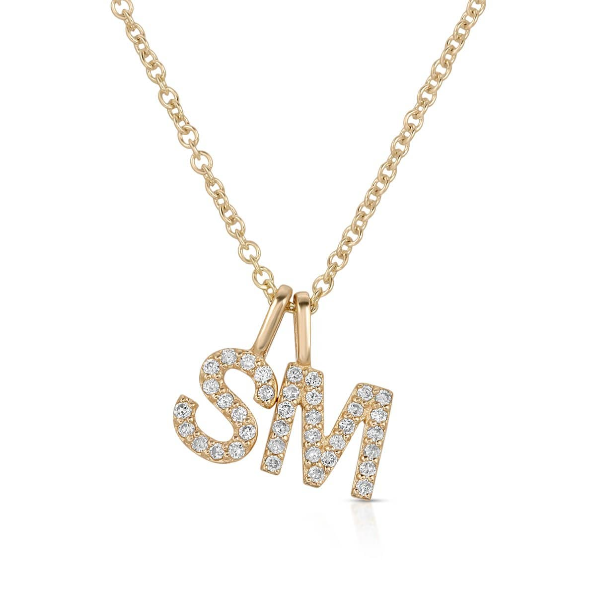 Diamond S M Gold Letter Charms
