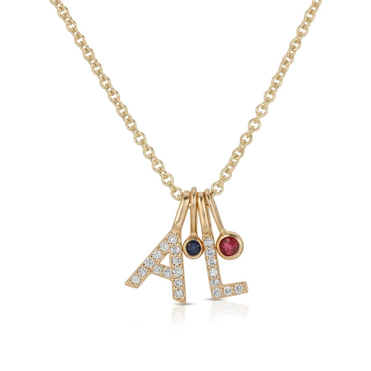 Diamond A L Gold Letter Pendant sapphire ruby charms