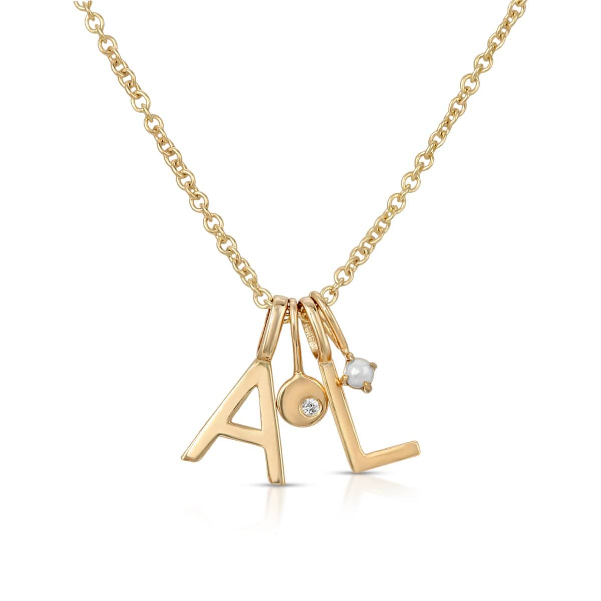 letreaime gold diamond pearl initial charm necklace