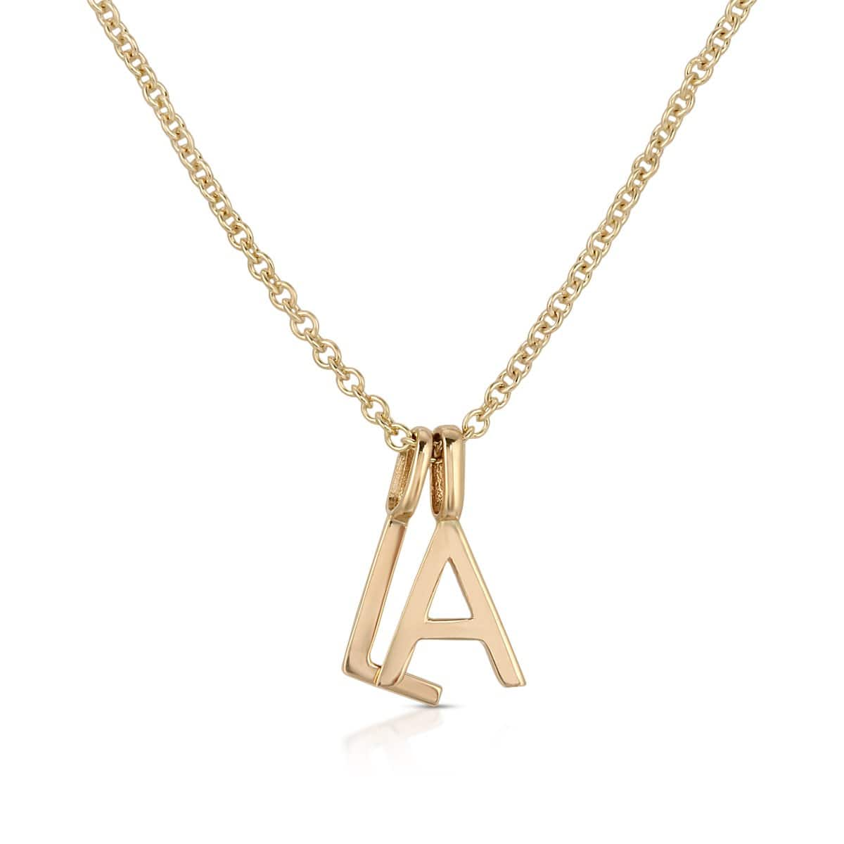 LA Letter charms layered on chain