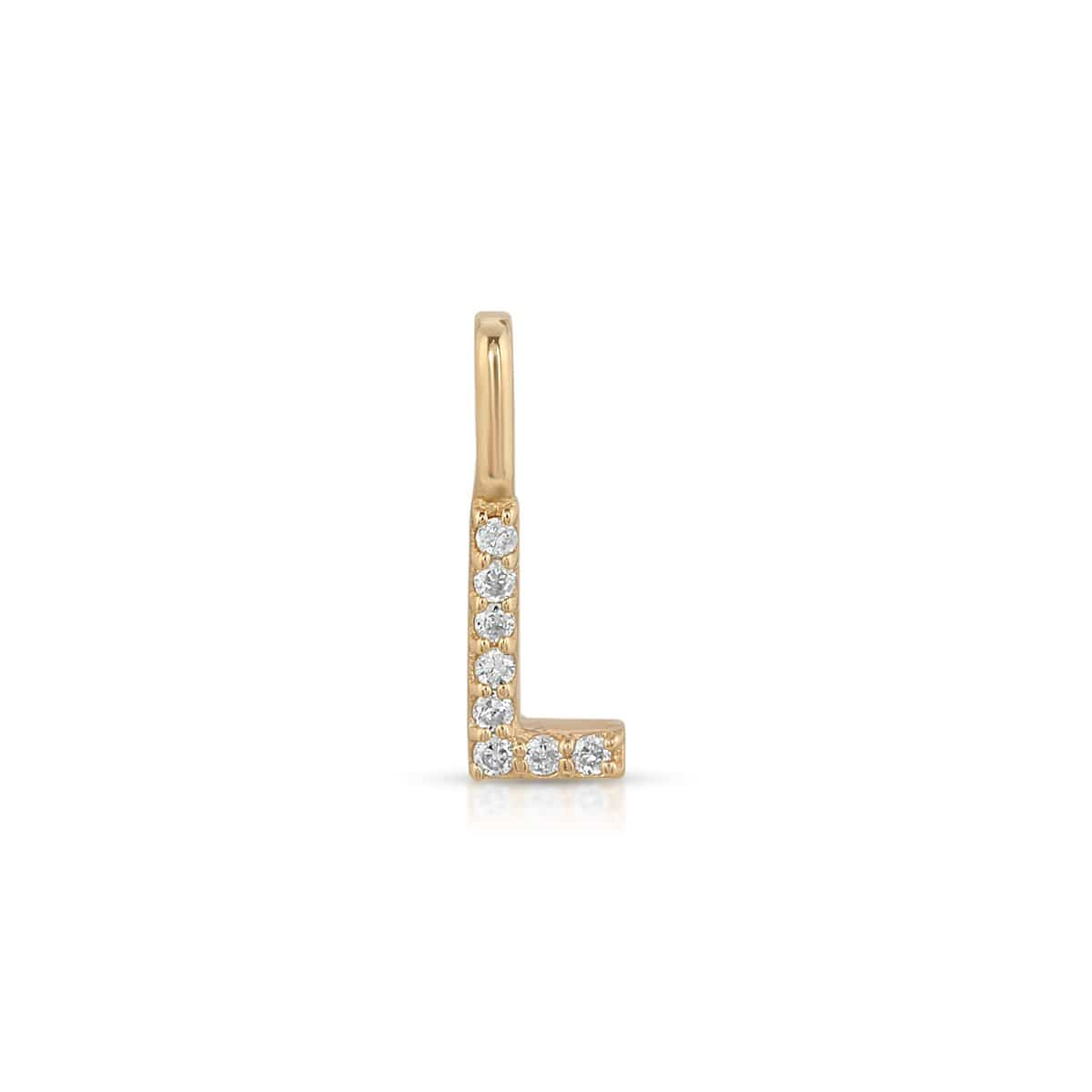 Diamond L Gold Letter Pendant Letreaime