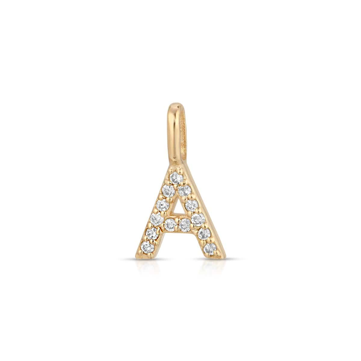 "Diamond Letter ""A"" Intial Gold Charm"