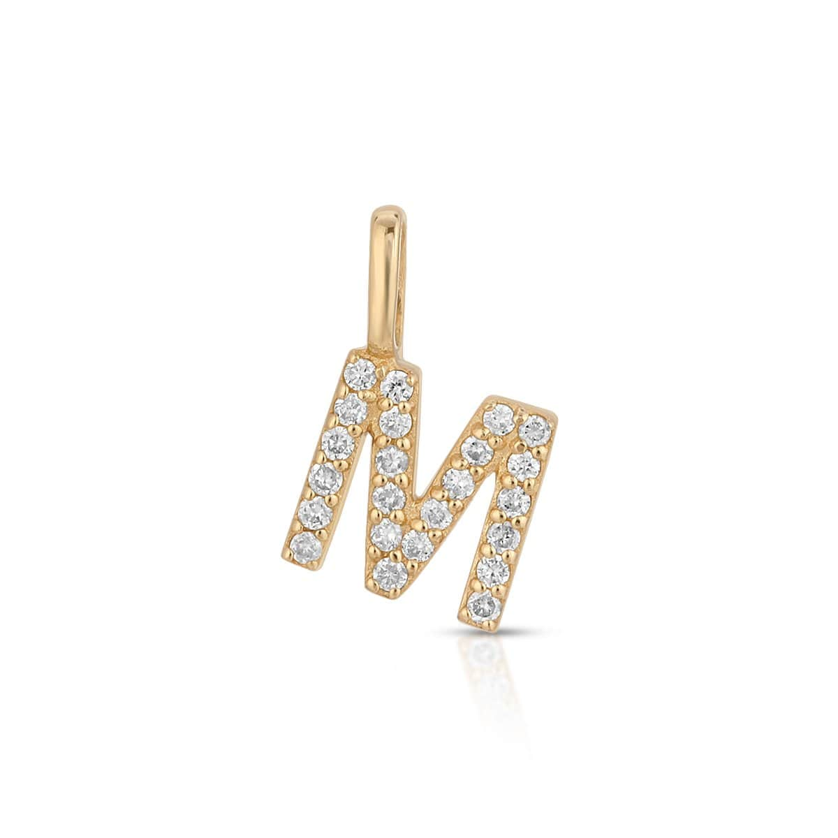 Diamond M Gold Letter Pendant