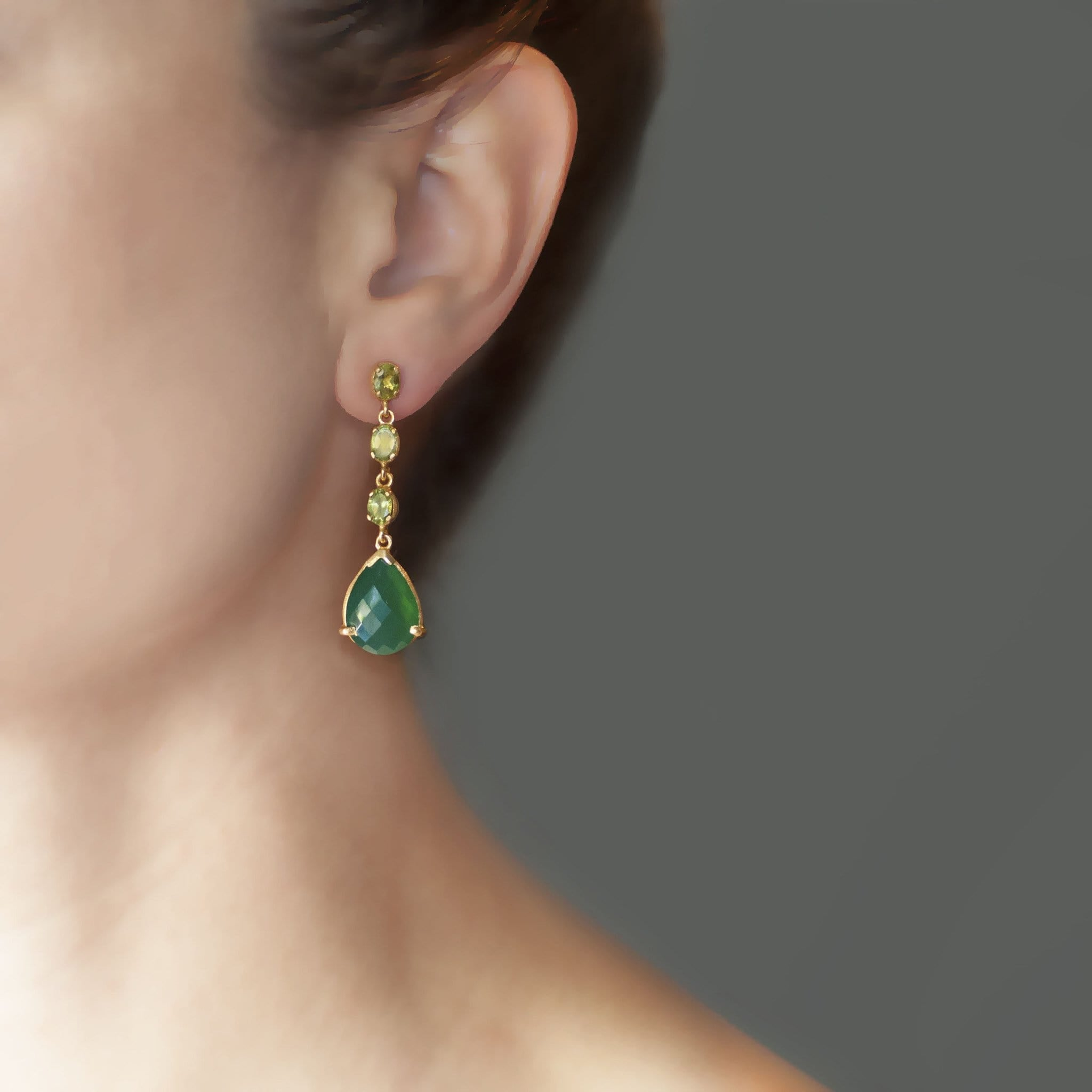 Peridot Green Chalcedony Drop Earrings - Curated Los Angeles