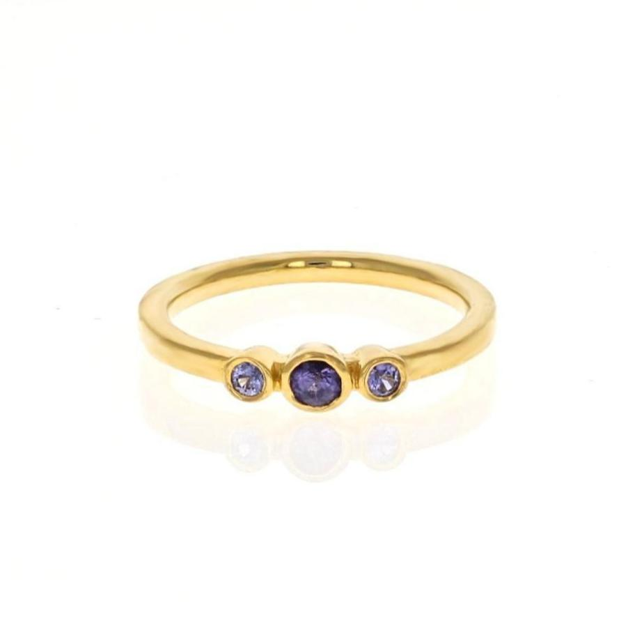 Purple Sapphire Three-stone Ring - Curated Los Angeles
