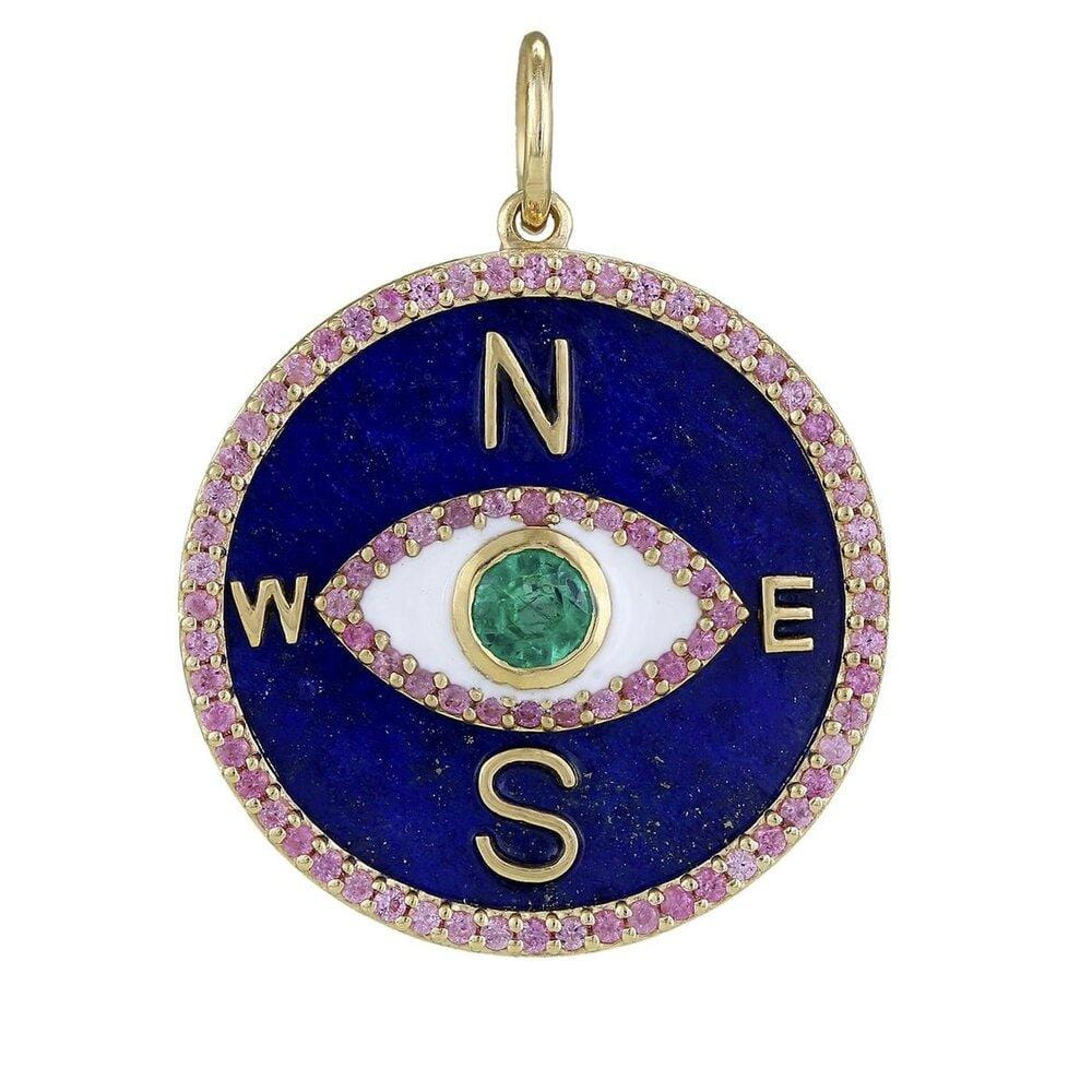 Lapis Gold Compass Medallion