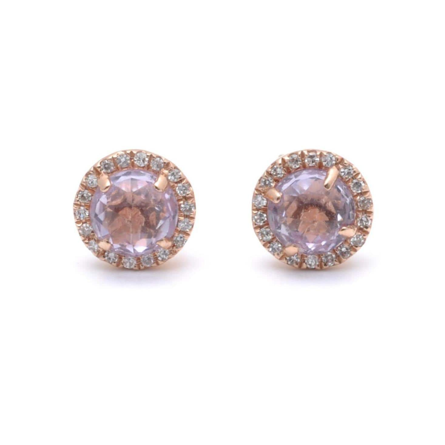 Light Amethyst Rosecut Diamond Halo Studs