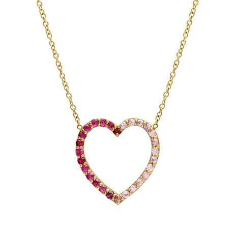 Large Dark and Light Pink Sapphire Heart Necklace