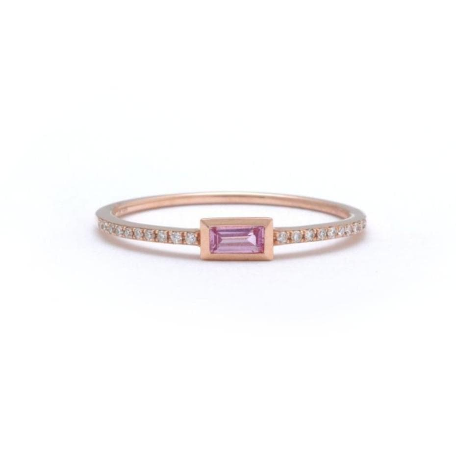 Baguette Pink Sapphire with Micro Pave Diamond Half Eternity Ring