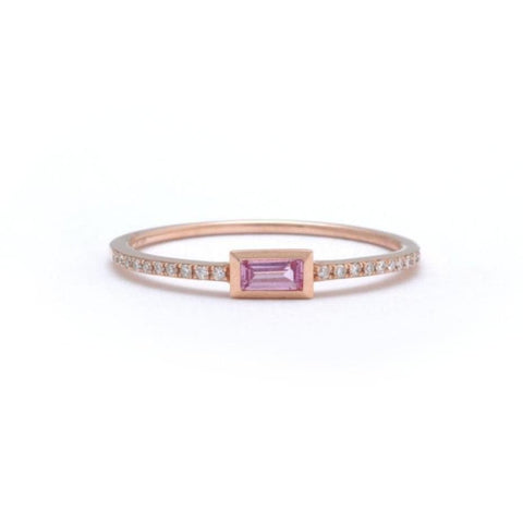 Princess Cut Ruby Chain Ring