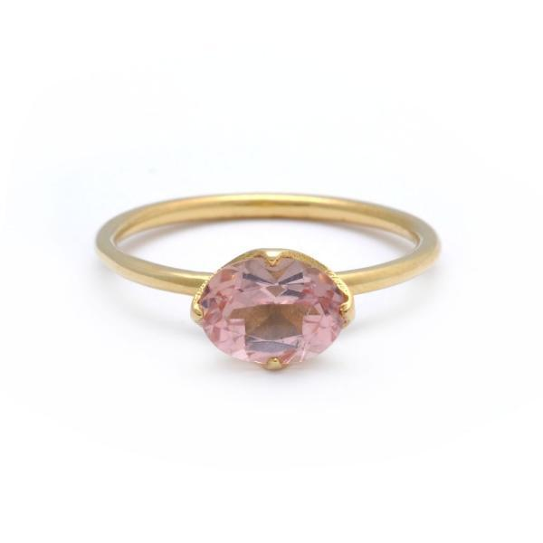 Oval Blush Pink Tourmaline Solitaire Ring