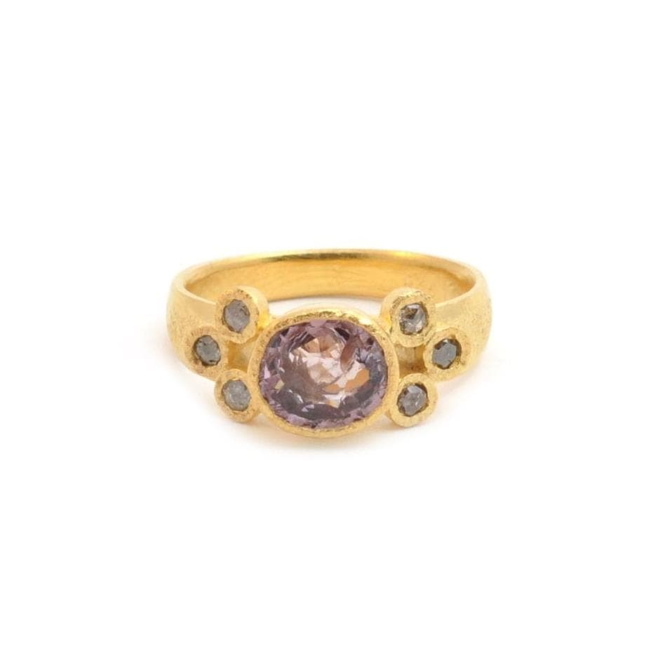 Pink Tourmaline brown Diamond Ring - Curated Los Angeles