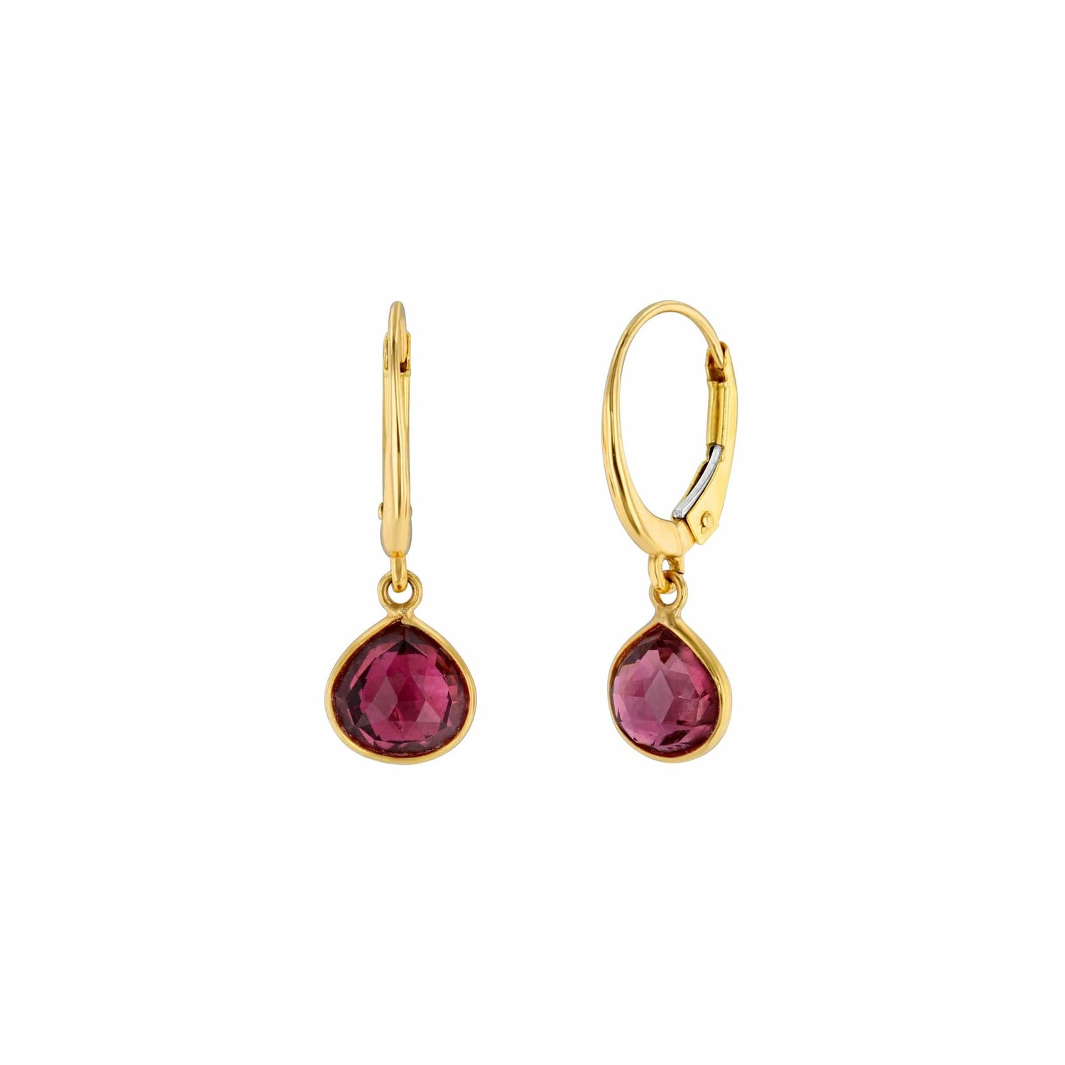 Yellow Gold Pink Tourmaline Earrings Elizabeth Jane Atelier