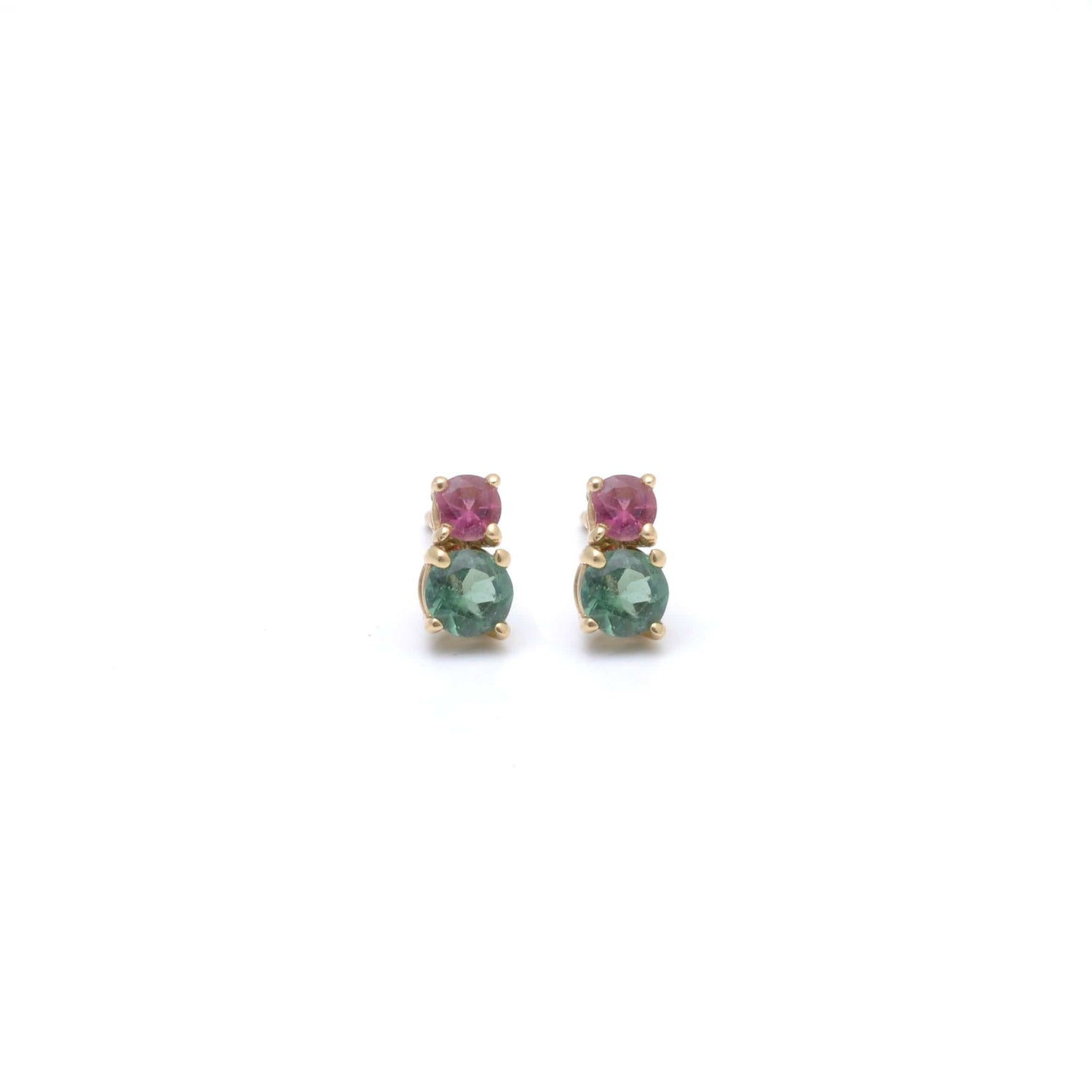 Green and Pink Tourmaline 14k Studs Curated Los Angeles