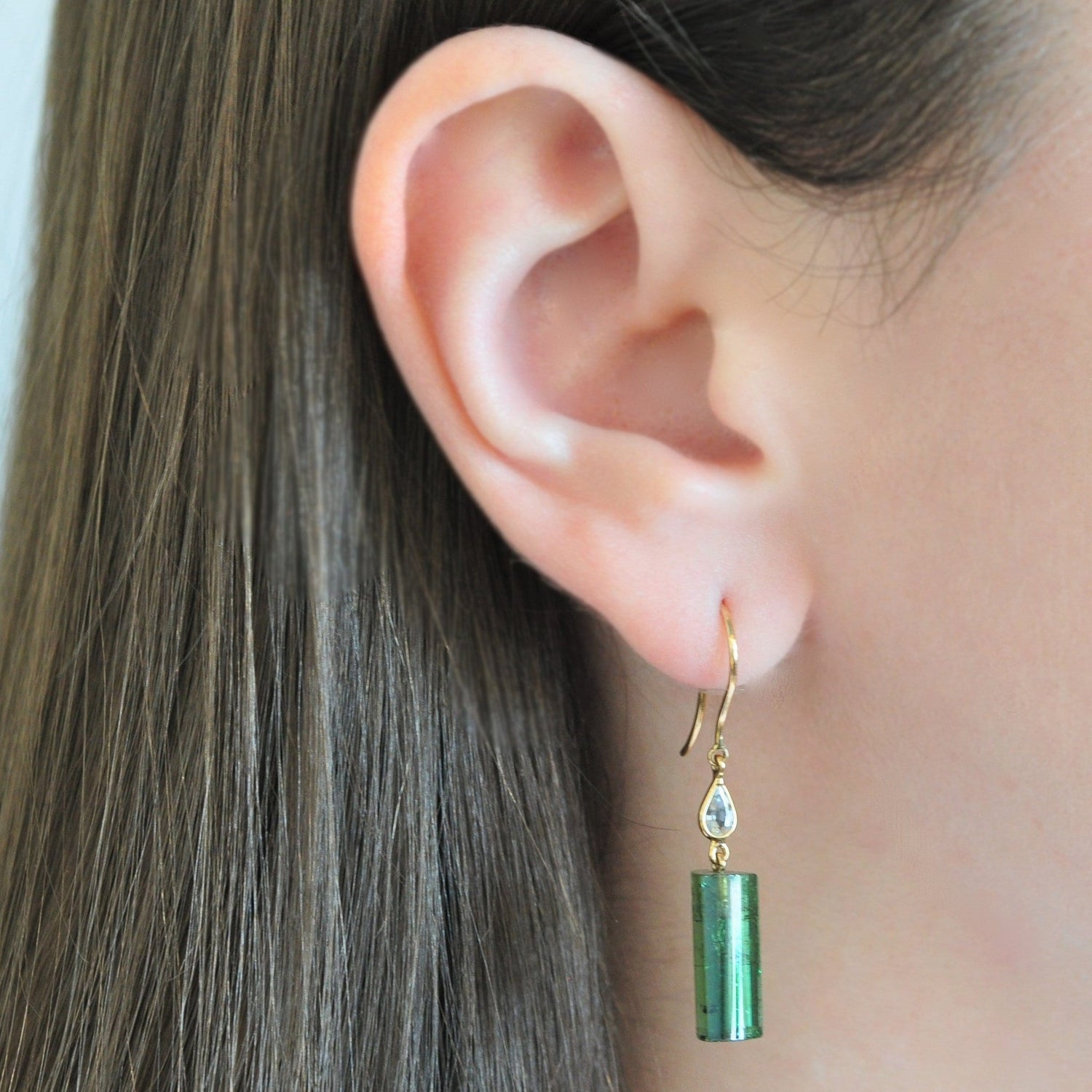 White Sapphire Green Tourmaline Dangle Earrings