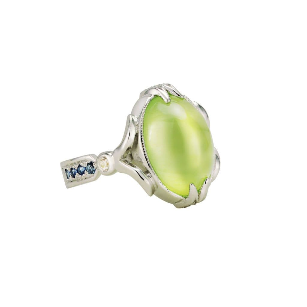 Lime Green Prehnite Sterling Silver Cocktail Ring - Curated Los Angeles