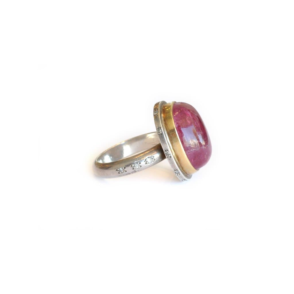 Pink Tourmaline Cabochon Two-tone Cocktail Ring - Curated Los Angeles