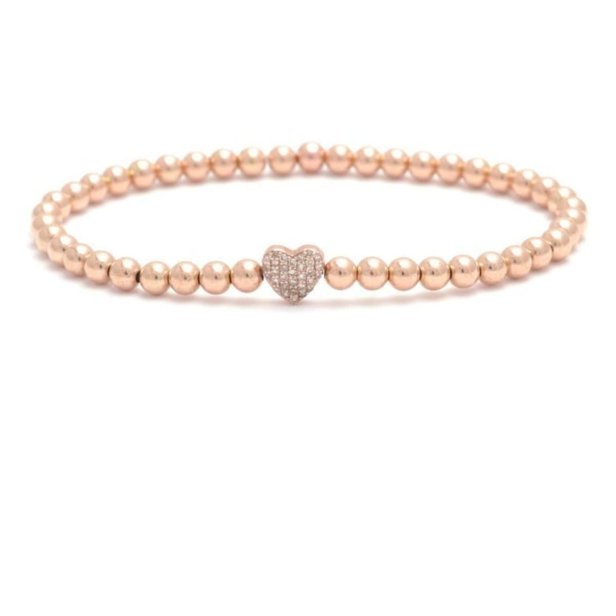Diamond Heart Charm Rose Gold Bead Bracelet
