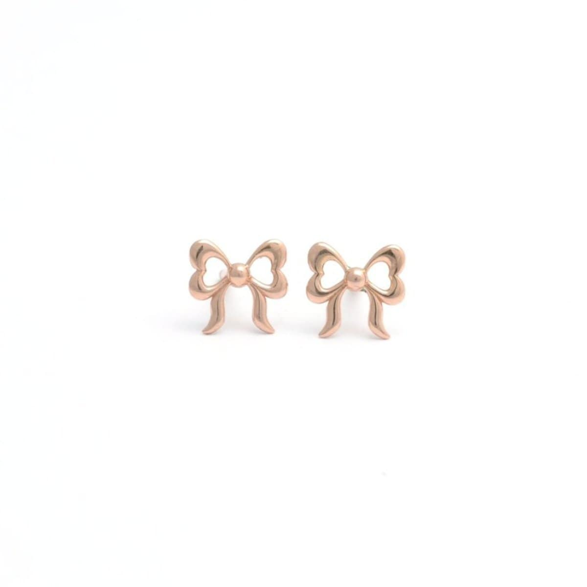 Mini Bow 18K Rose Gold Studs Elizabeth Jane