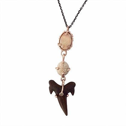 Opal Shark Tooth Sand Dollar Fossil Rose Gold Totem Necklace
