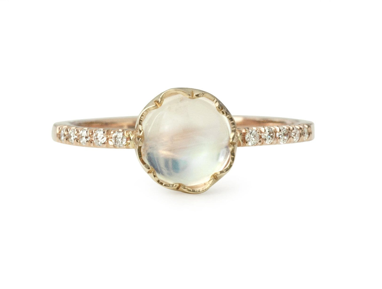 Rainbow Moonstone Scalloped Setting Pave Diamond Band