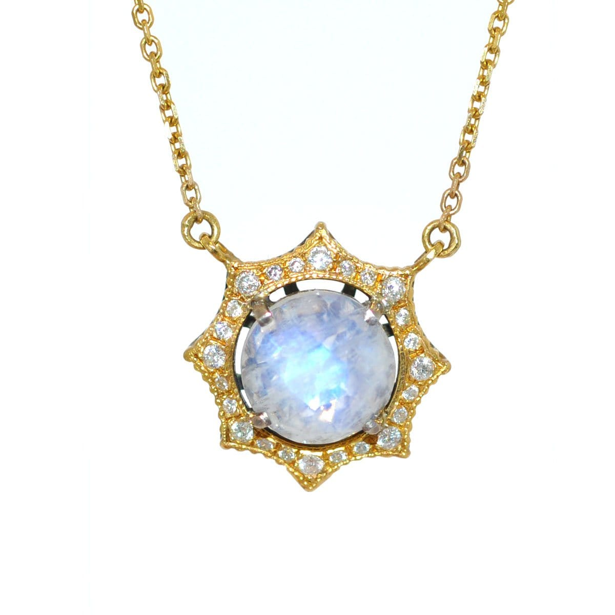 rainbow moonstone star necklace