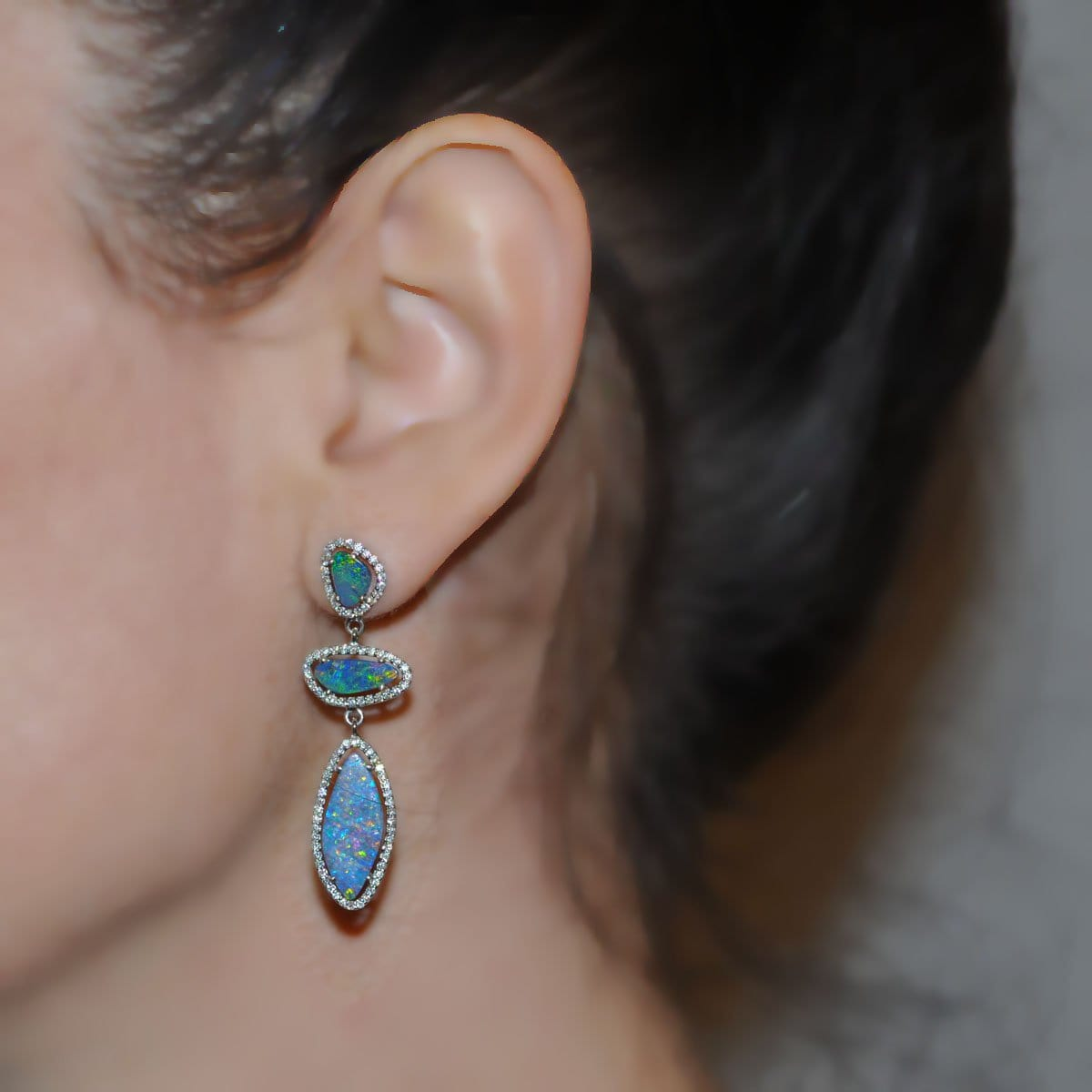 Multi Shape Opal Doublet Diamond Halo Drop Earrings
