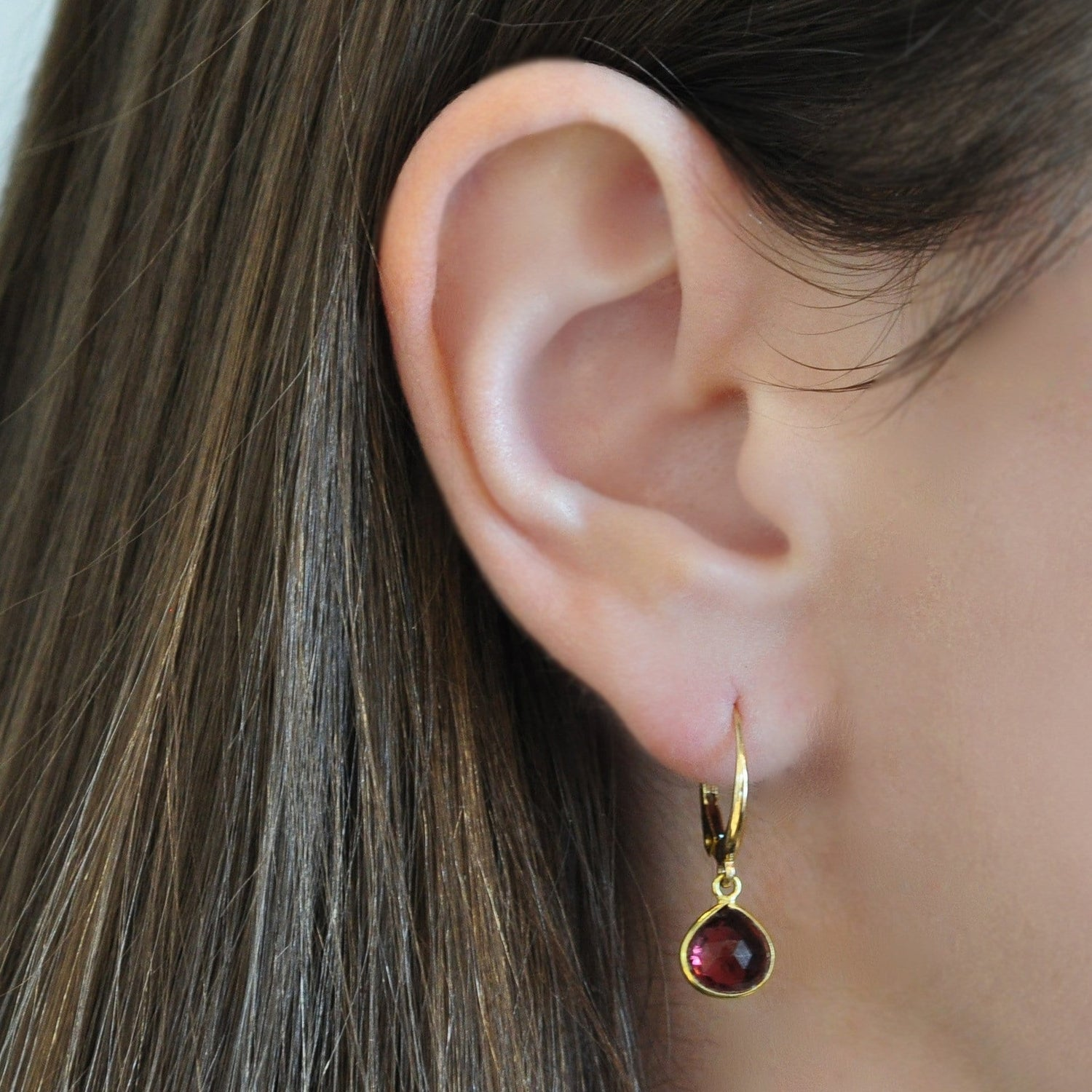 Pink Tourmaline 18K Yellow Gold Lever Back Earrings