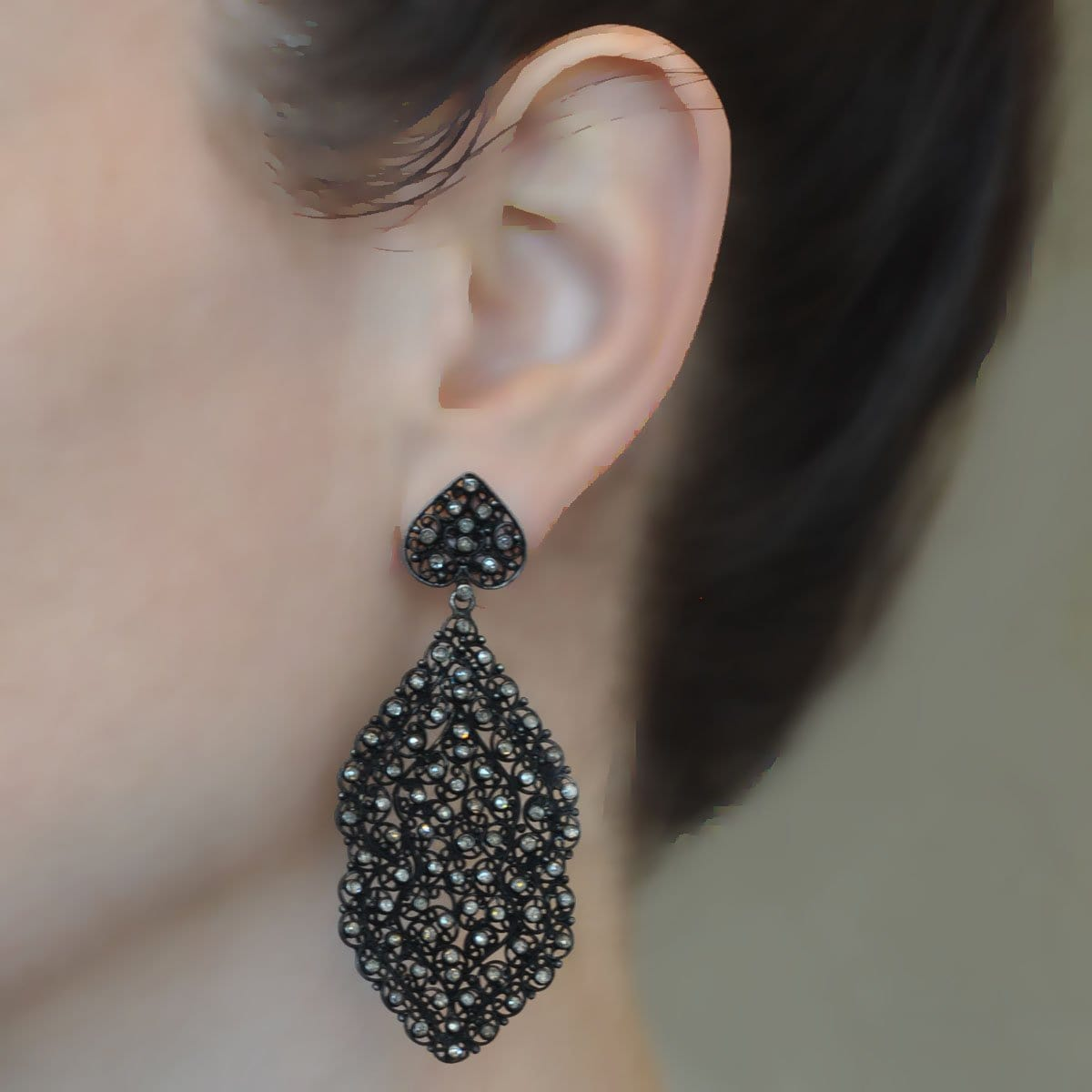 Black Lace Diamond Chandelier Earrings