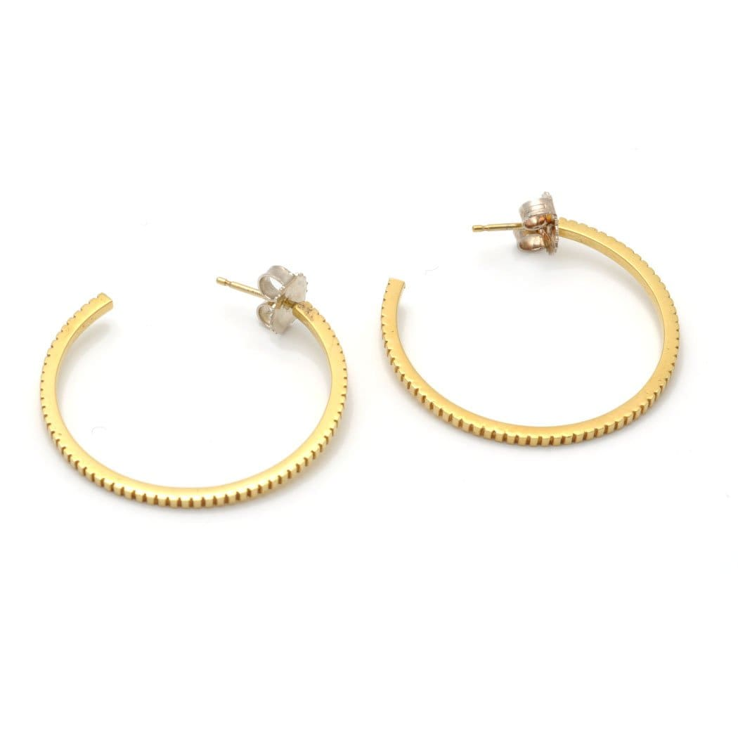 Ridged Yellow Gold Hoops