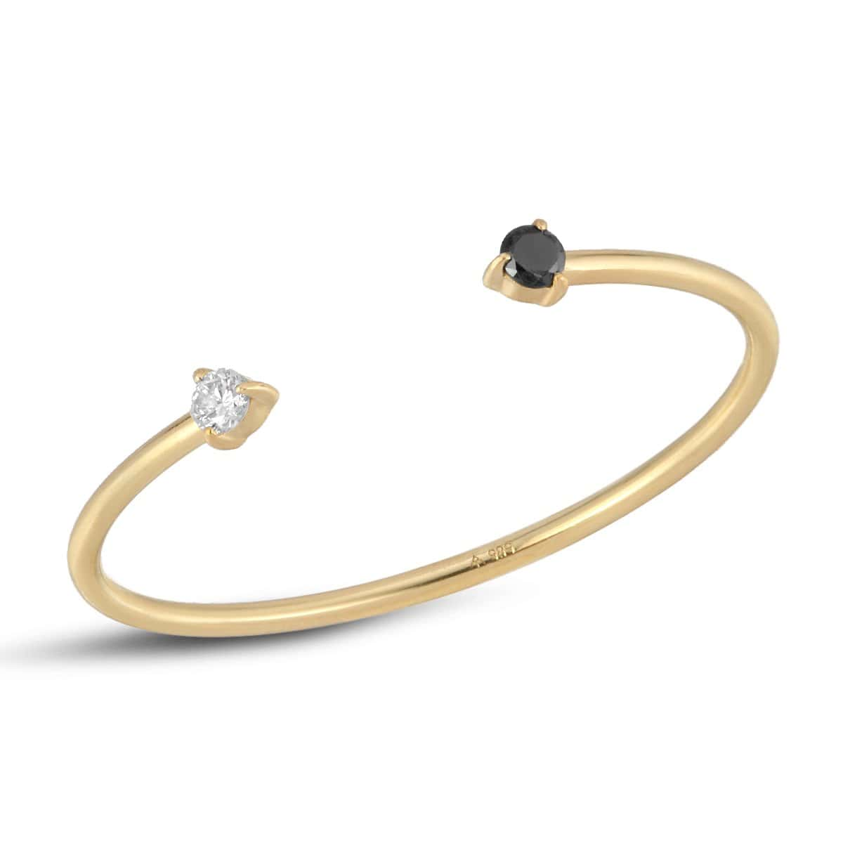 Black and White Diamond Yellow Gold Cuff Ring