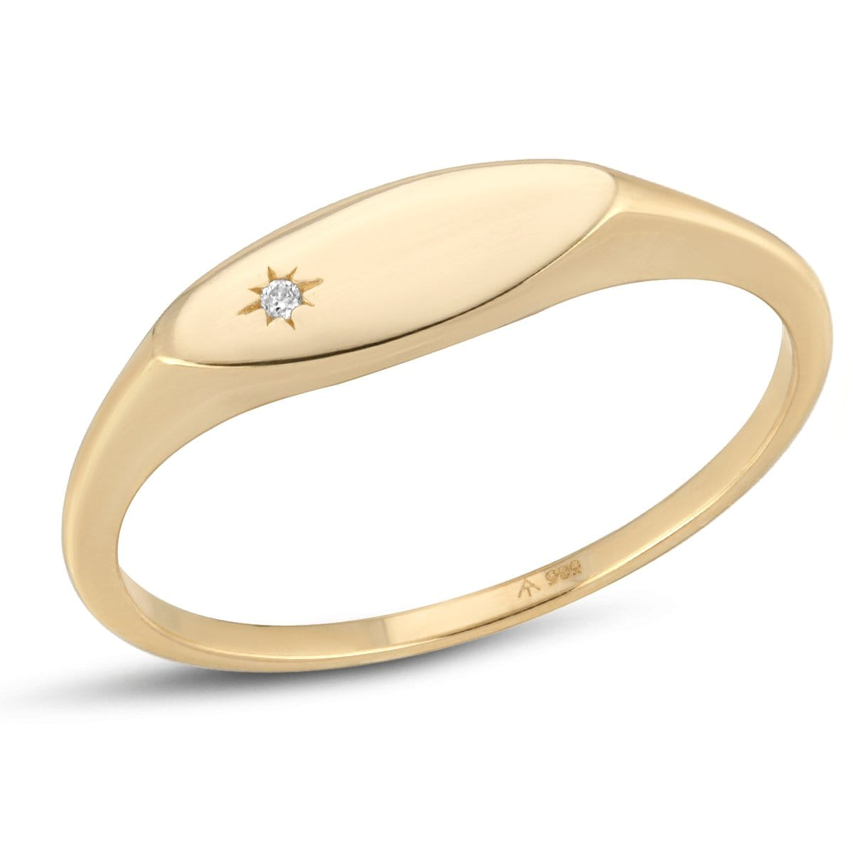 Diamond Yellow Gold Oval Signet Ring Letreaime