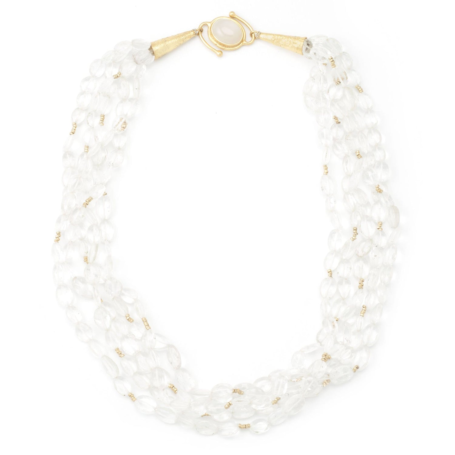 Rock Crystal  & Moonstone Clasp Necklace - Curated Los Angeles
