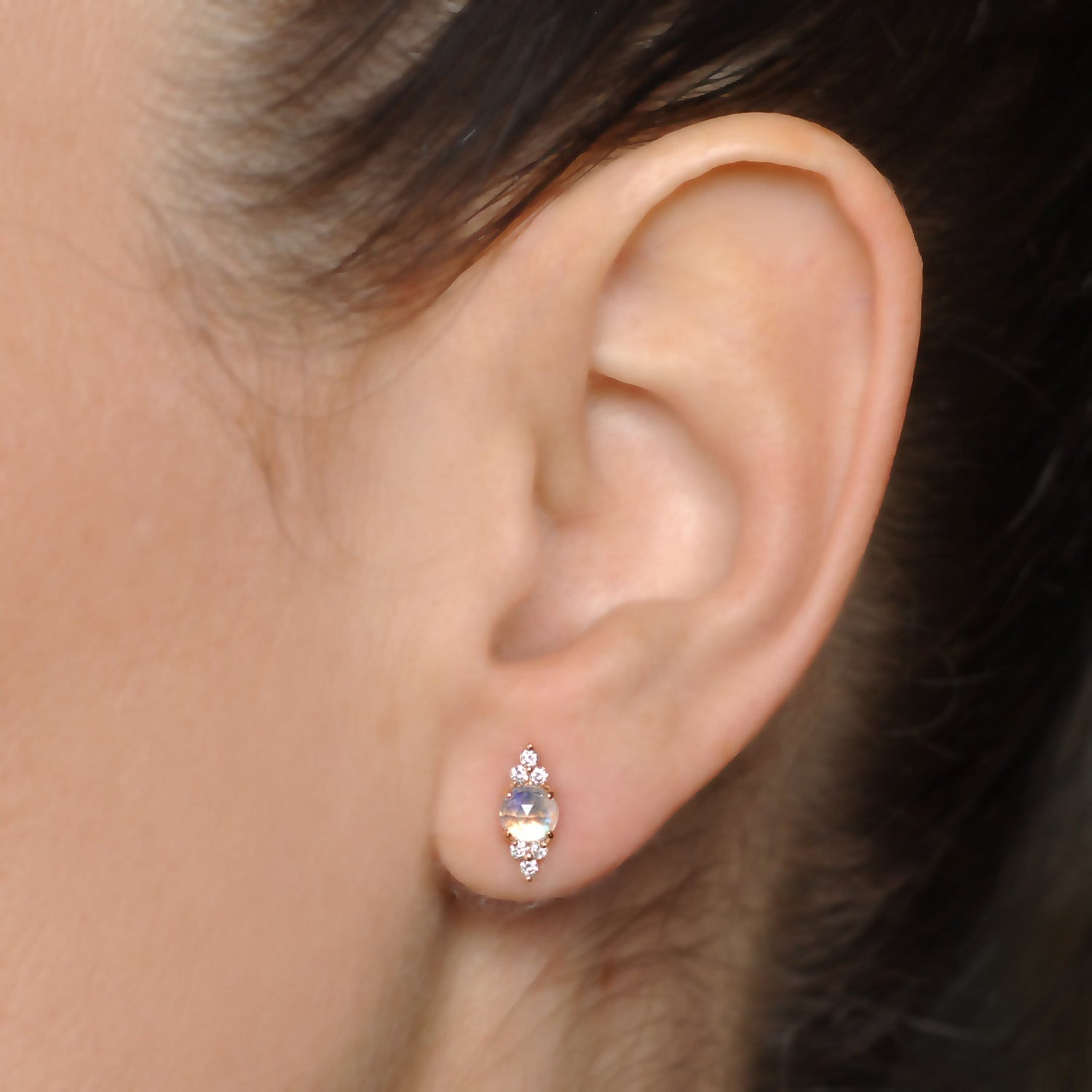 Moonstone Diamond Rose Gold Earrings