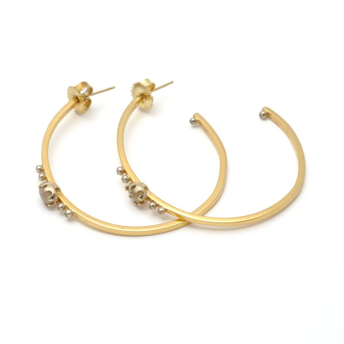 Rustic Diamond Yellow Gold Hoops