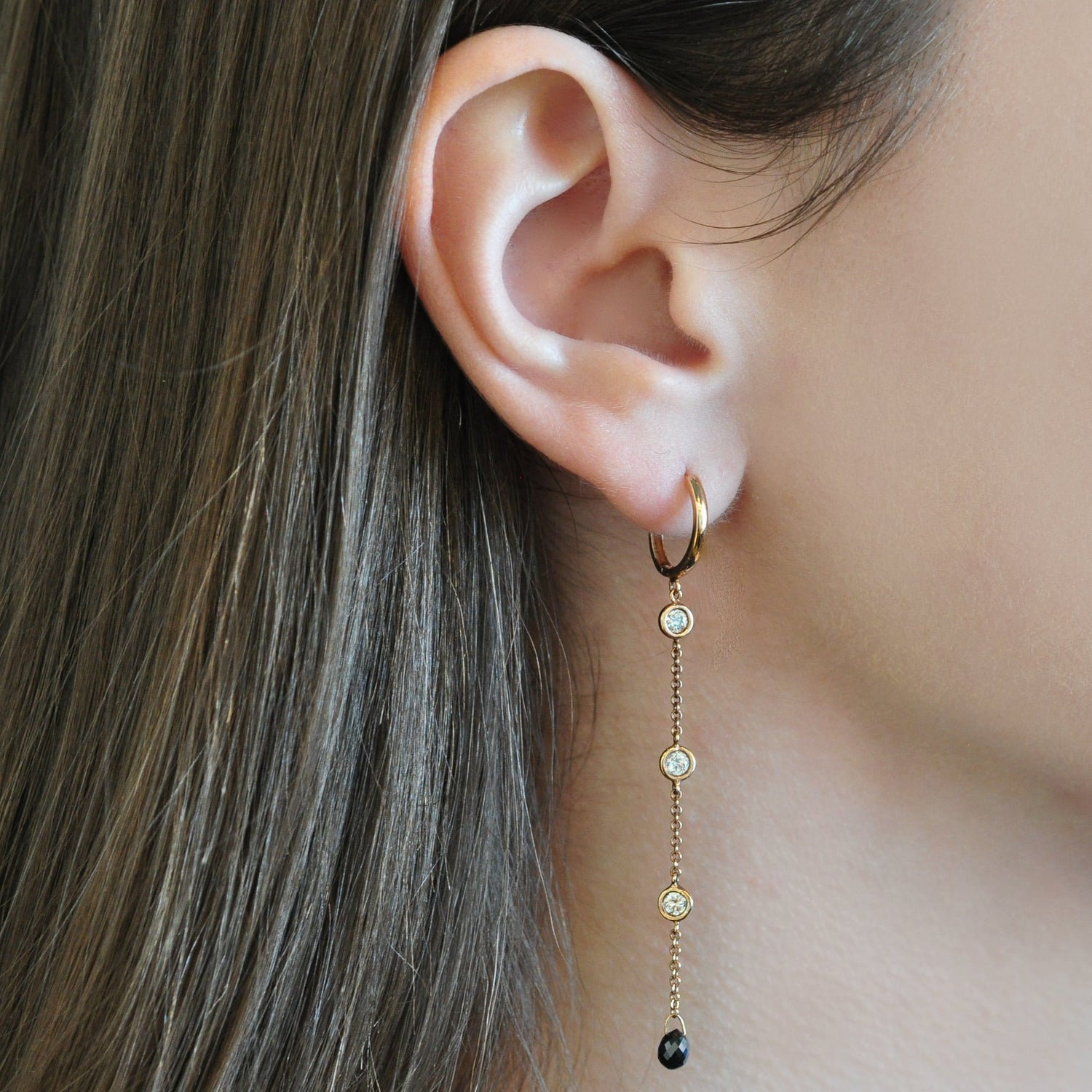 Black Diamond Briolette Rose Gold Three Bezel Diamond Earrings Elizabeth Jane Atelier Fine Jewelry