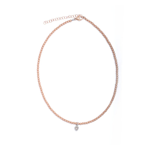 White Gold Diamond Pendant on Rose Gold Bead Necklace - Curated Los Angeles
