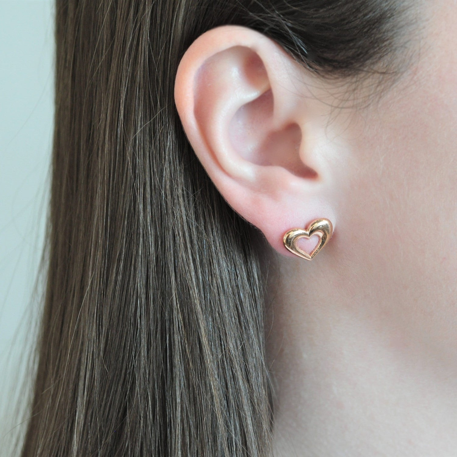 Puffy Heart Stud Rose Gold Earrings