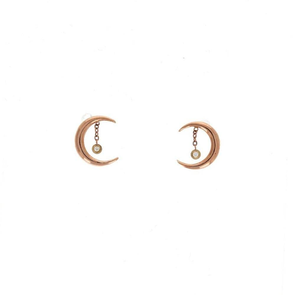 Rose Gold Crescent Moon Diamond Drop Studs