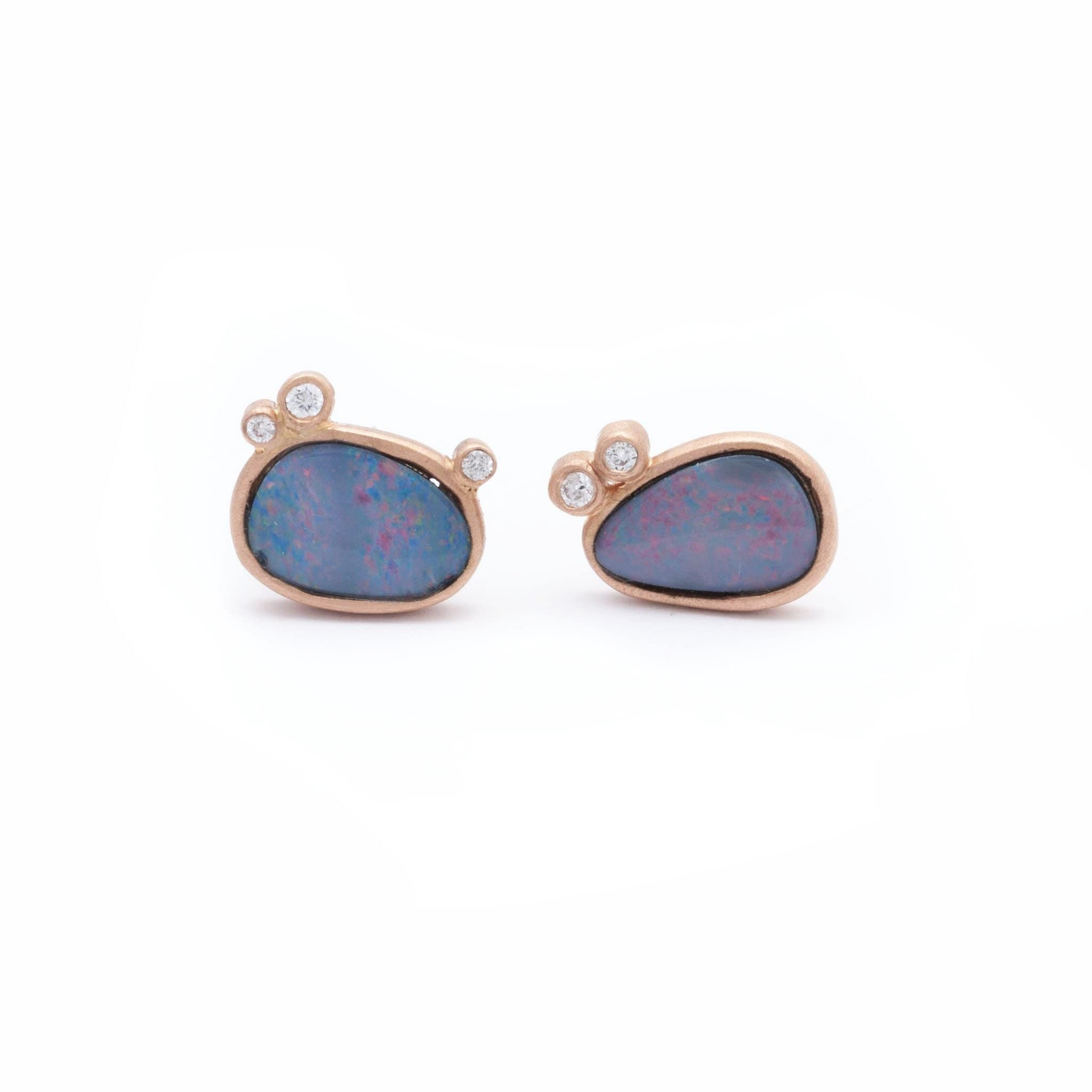 Opal Doublet Diamond Rose Gold Stud Earrings - Curated Los Angeles