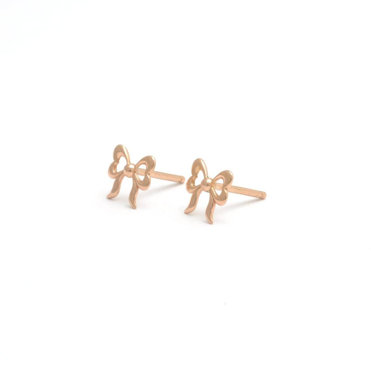 Small Bow Studs Rose Gold Earrings Elizabeth Jane Atelier